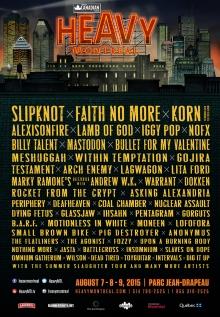 Programmation 2015 du festival Heavy Montréal